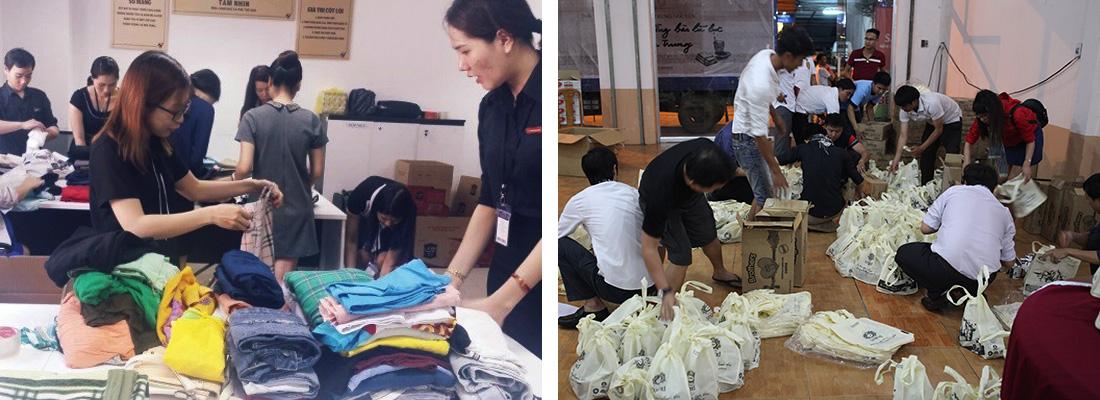 Sắp xếp, vận chuyển các vật phẩm trước khi lên đường trao tặng