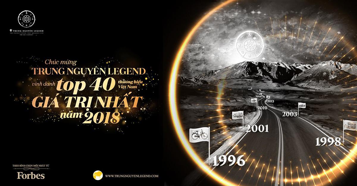 Trung Nguyên Legend lọt top 40 thương hiệu giá trị nhất năm 2018