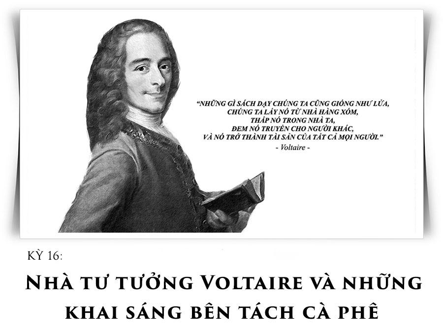 Nhà tư tưởng Voltaire và những khai sáng bên tách cà phê
