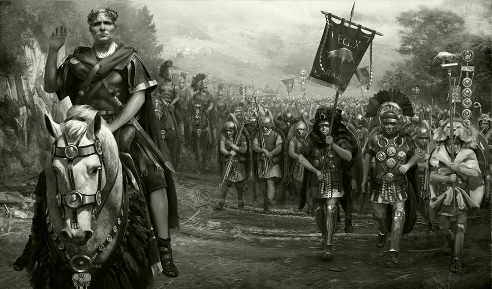 Julius Caesar là một thủ lĩnh đầy khát vọng. Khi còn tham gia quân đội tham chiến tại Gaul (nay là Pháp và Bỉ), ông đánh bại những bộ lạc ở đây, trở thành thủ lĩnh vùng Gaul và xây dựng quân đội để bắt đầu thực hiện các hoạt động quân sự nhằm củng cố vị thế. Lúc đó, Caesar đã muốn trở thành một trong những lãnh đạo vĩ đại nhất của La Mã.