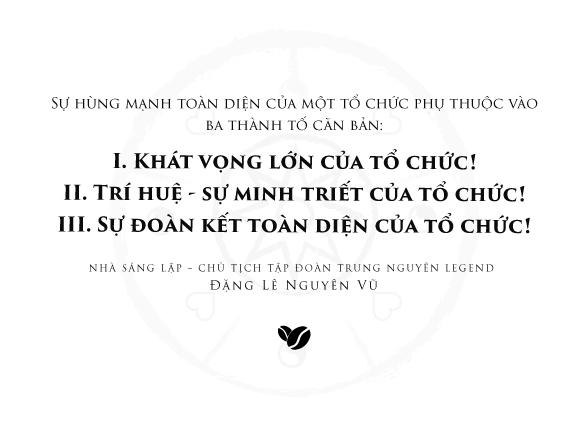 Thông điệp Tập đoàn Trung Nguyên Legend: Yêu thương – Toàn kết – Trách nhiệm – Kỷ luật