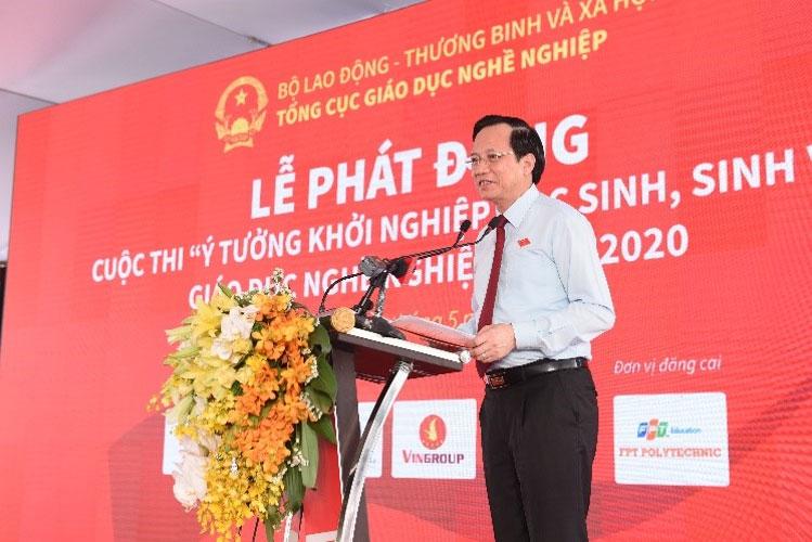 Bộ trưởng Bộ LĐ-TB&XH - Đào Ngọc Dung phát biểu tại buổi lễ phát động cuộc thi Startup Kite 2020.