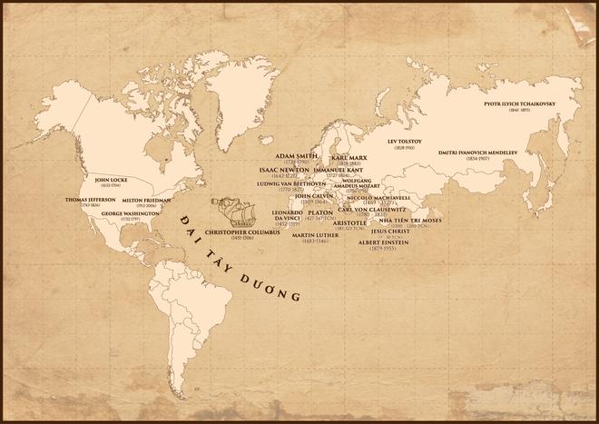 Bản đồ các danh vĩ nhân, các nhà lập thuyết, các nhà khoa học... tiêu biểu trong mọi lĩnh vực của nền văn minh Phương Đông và Phương Tây của nhân loại.
